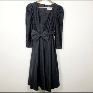 80s Prom Dress Black Lace Big Bow Poofy Size 7/8
